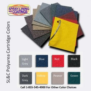 Colors for cartridge spray on truck bedliners